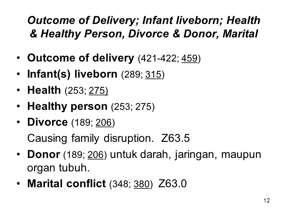 Outcome of Delivery; Infant liveborn; Health & Healthy Person, Divorce & Donor, Marital