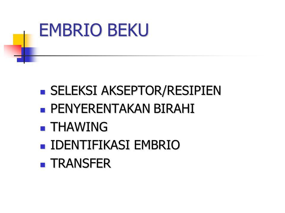 EMBRIO BEKU SELEKSI AKSEPTOR/RESIPIEN PENYERENTAKAN BIRAHI THAWING