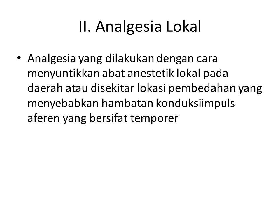 II. Analgesia Lokal