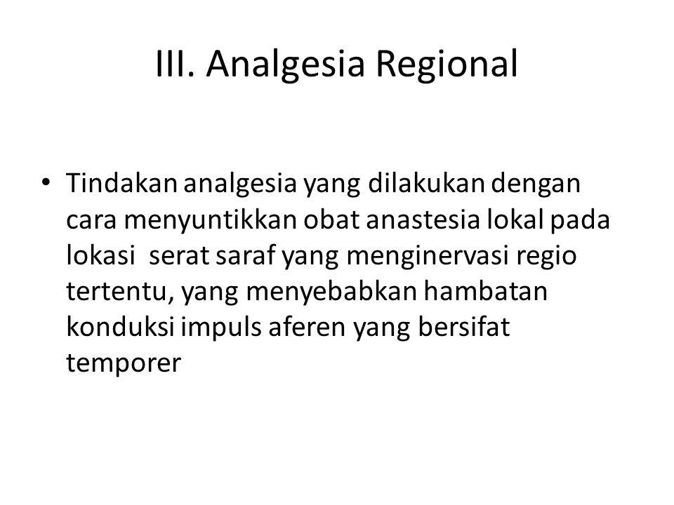 III. Analgesia Regional