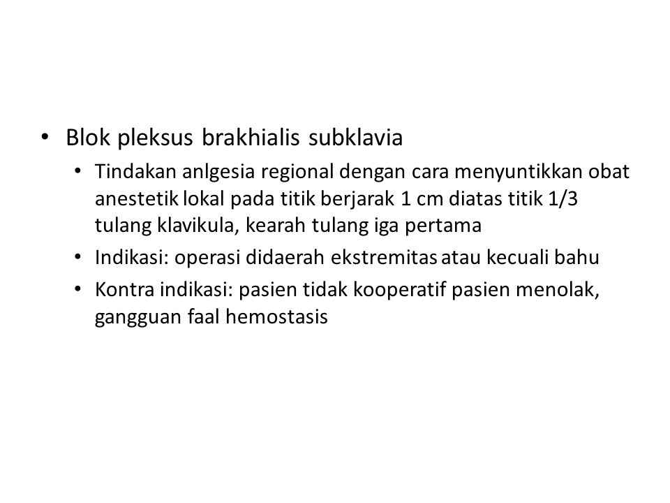 Blok pleksus brakhialis subklavia