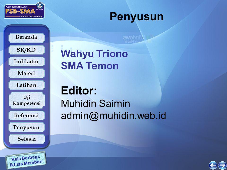 Penyusun Editor: Wahyu Triono SMA Temon Muhidin Saimin