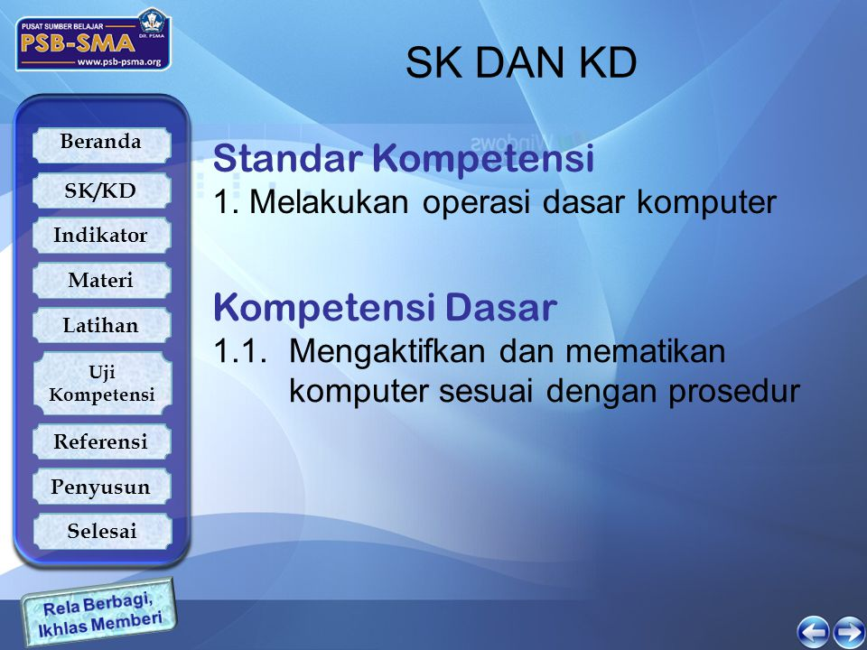 SK DAN KD Standar Kompetensi Kompetensi Dasar