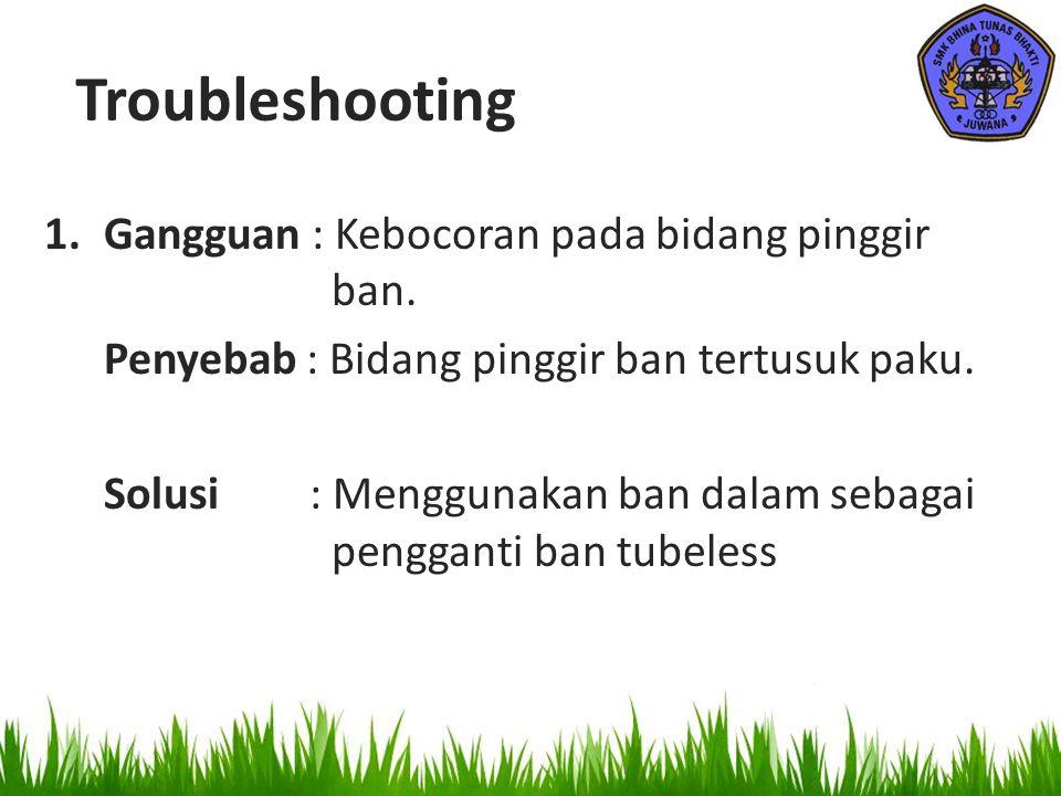 Troubleshooting Gangguan : Kebocoran pada bidang pinggir ban.