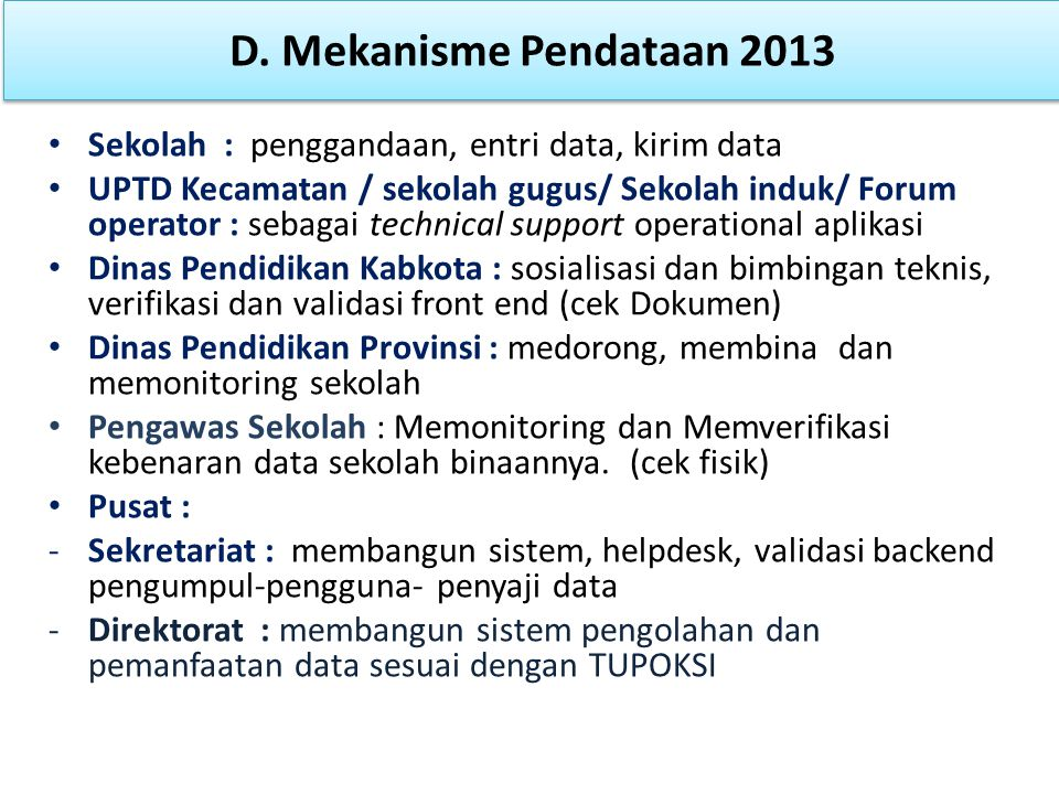 D. Mekanisme Pendataan 2013 Sekolah : penggandaan, entri data, kirim data.