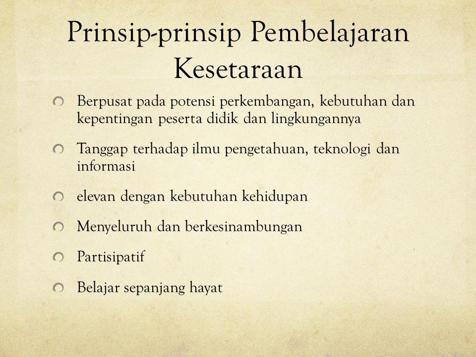 Prinsip-prinsip Pembelajaran Kesetaraan