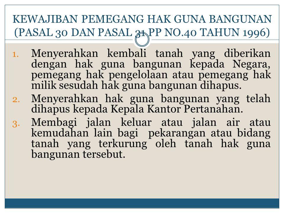 KEWAJIBAN PEMEGANG HAK GUNA BANGUNAN (PASAL 30 DAN PASAL 31 PP NO