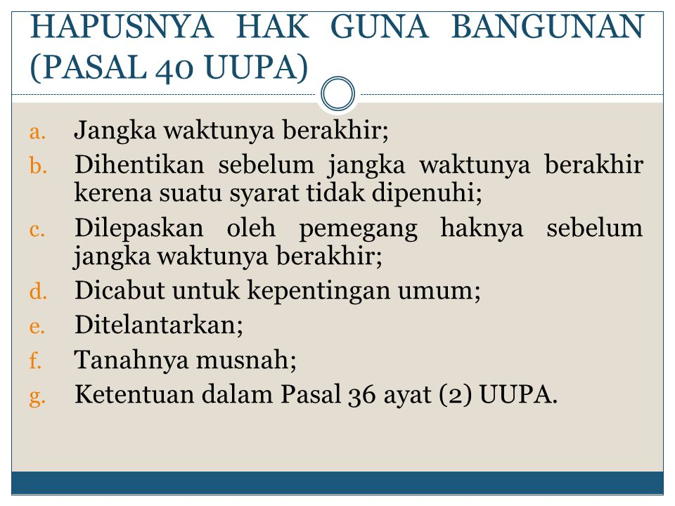 HAPUSNYA HAK GUNA BANGUNAN (PASAL 40 UUPA)