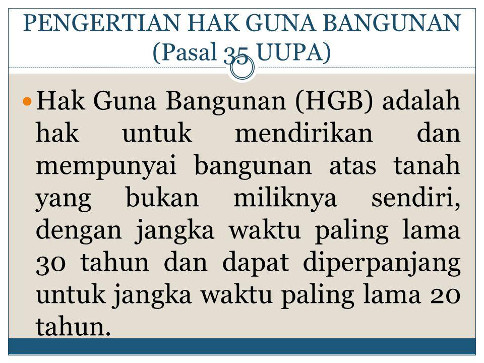 PENGERTIAN HAK GUNA BANGUNAN (Pasal 35 UUPA)