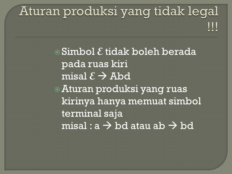 Aturan produksi yang tidak legal !!!