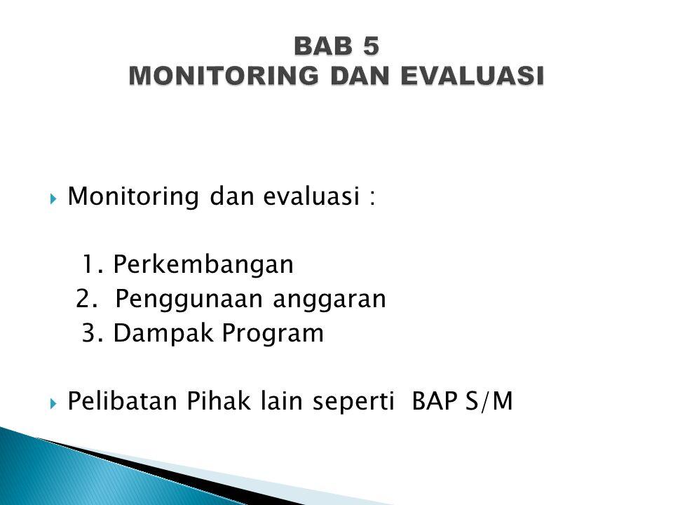 BAB 5 MONITORING DAN EVALUASI