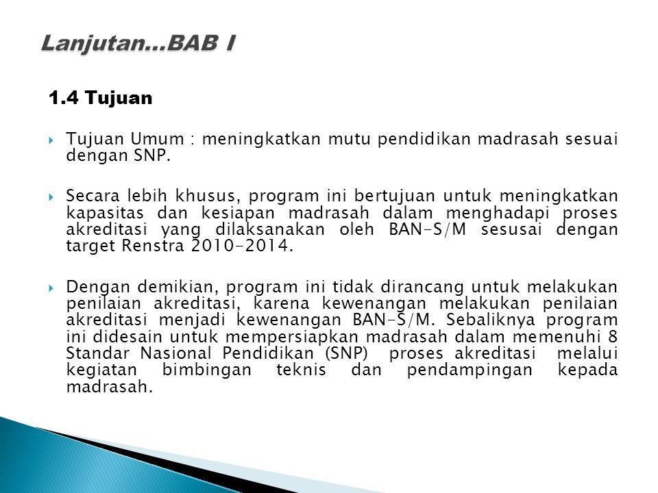 Lanjutan…BAB I 1.4 Tujuan. Tujuan Umum : meningkatkan mutu pendidikan madrasah sesuai dengan SNP.