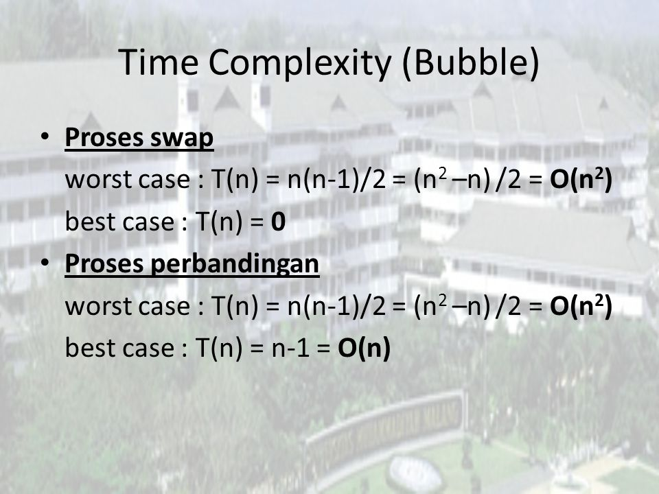 Time Complexity (Bubble)