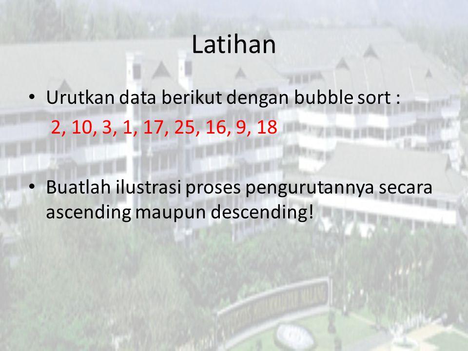 Latihan Urutkan data berikut dengan bubble sort :