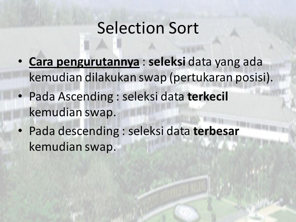 Selection Sort Cara pengurutannya : seleksi data yang ada kemudian dilakukan swap (pertukaran posisi).