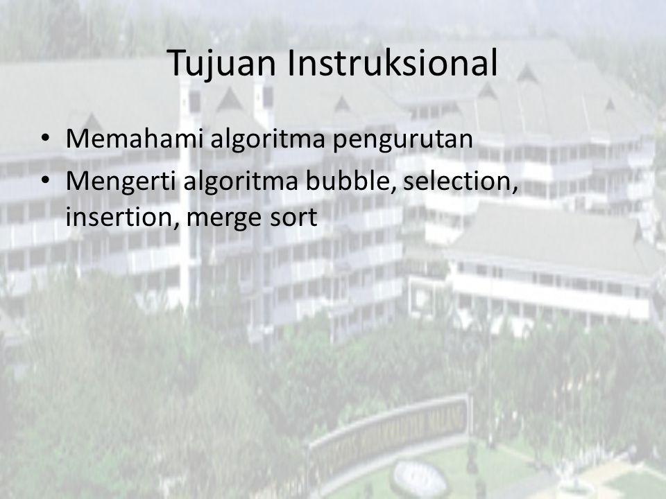 Tujuan Instruksional Memahami algoritma pengurutan