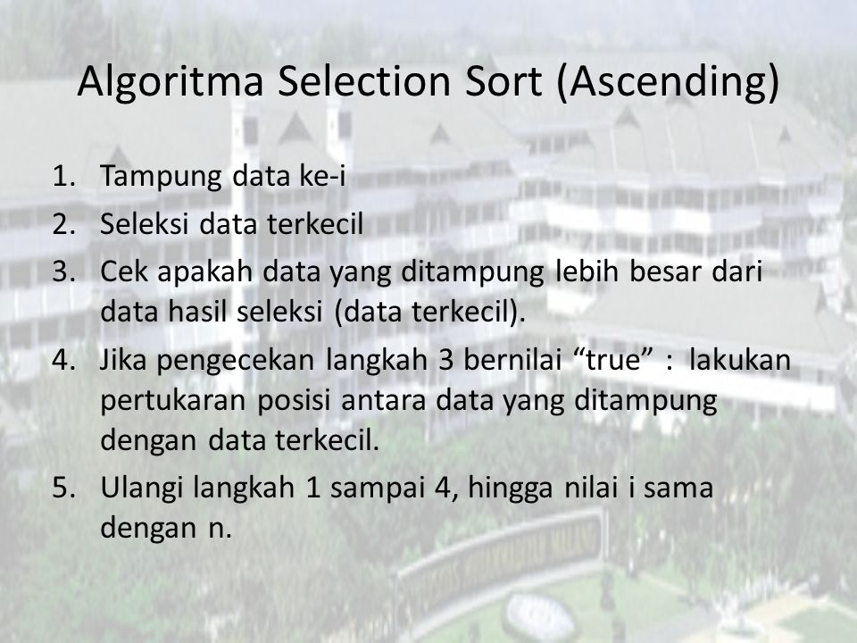 Algoritma Selection Sort (Ascending)