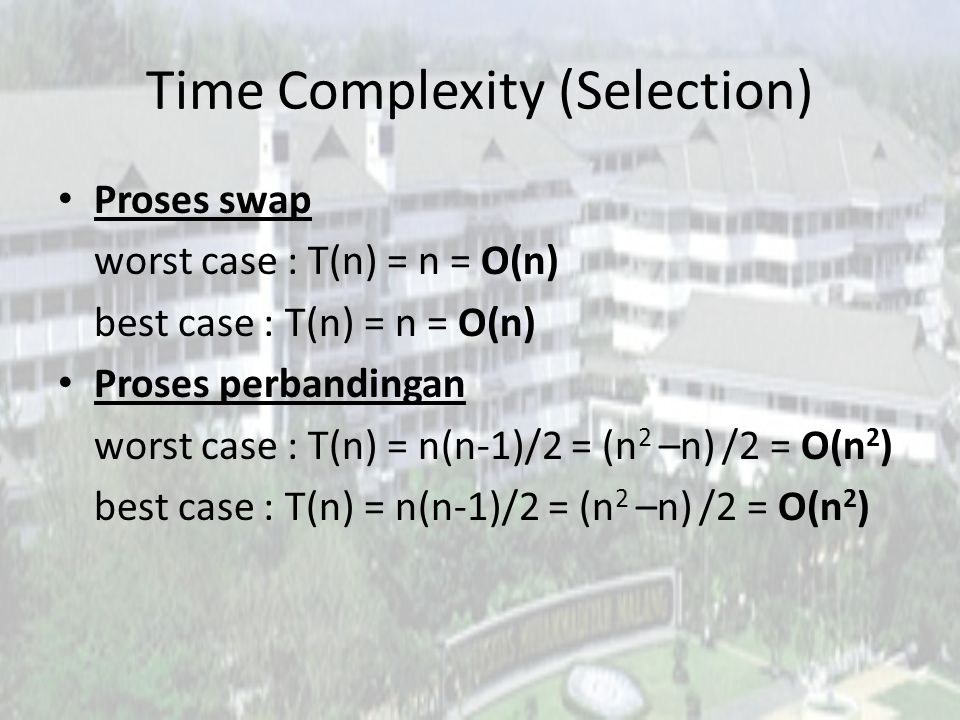 Time Complexity (Selection)