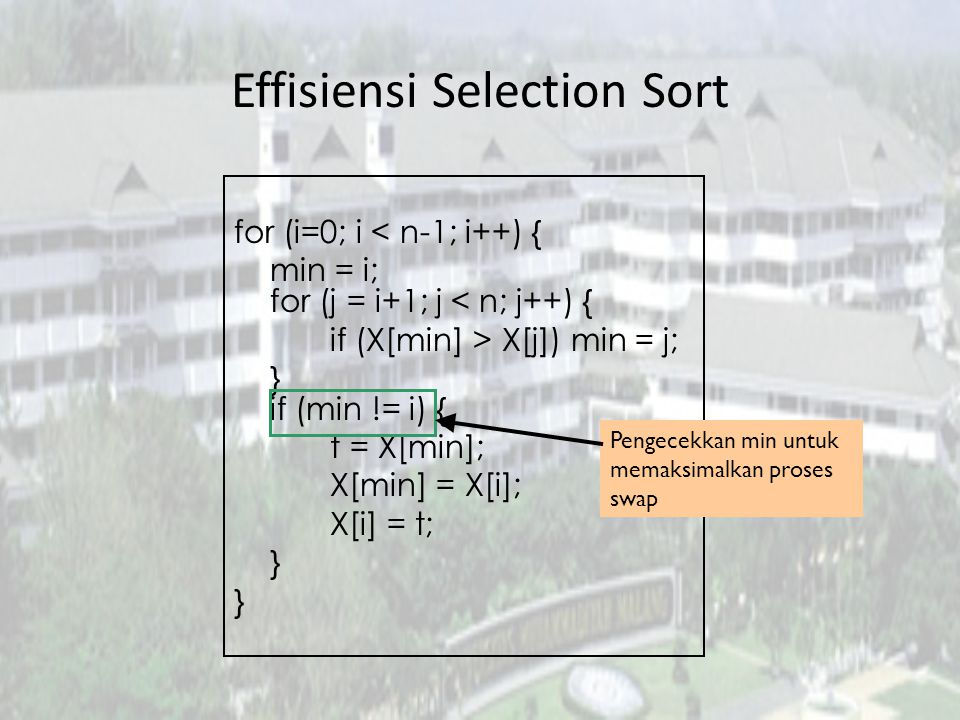Effisiensi Selection Sort