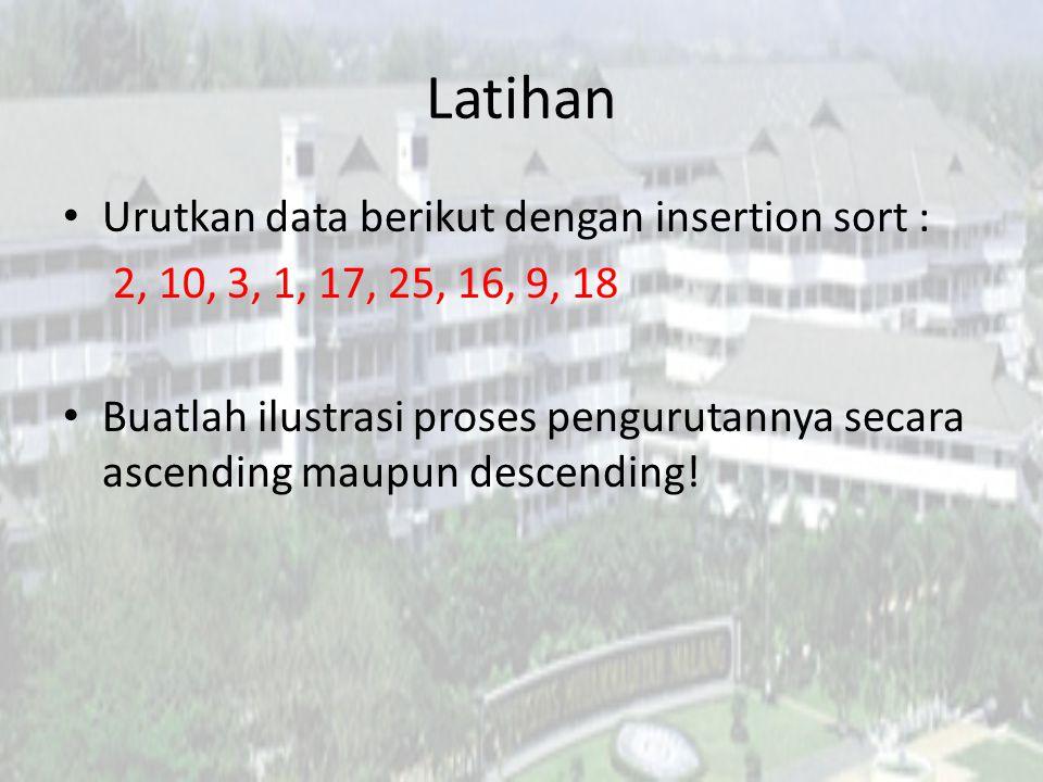 Latihan Urutkan data berikut dengan insertion sort :