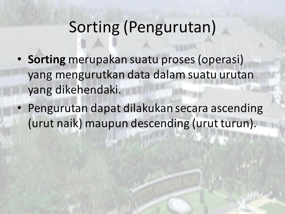 Sorting (Pengurutan) Sorting merupakan suatu proses (operasi) yang mengurutkan data dalam suatu urutan yang dikehendaki.