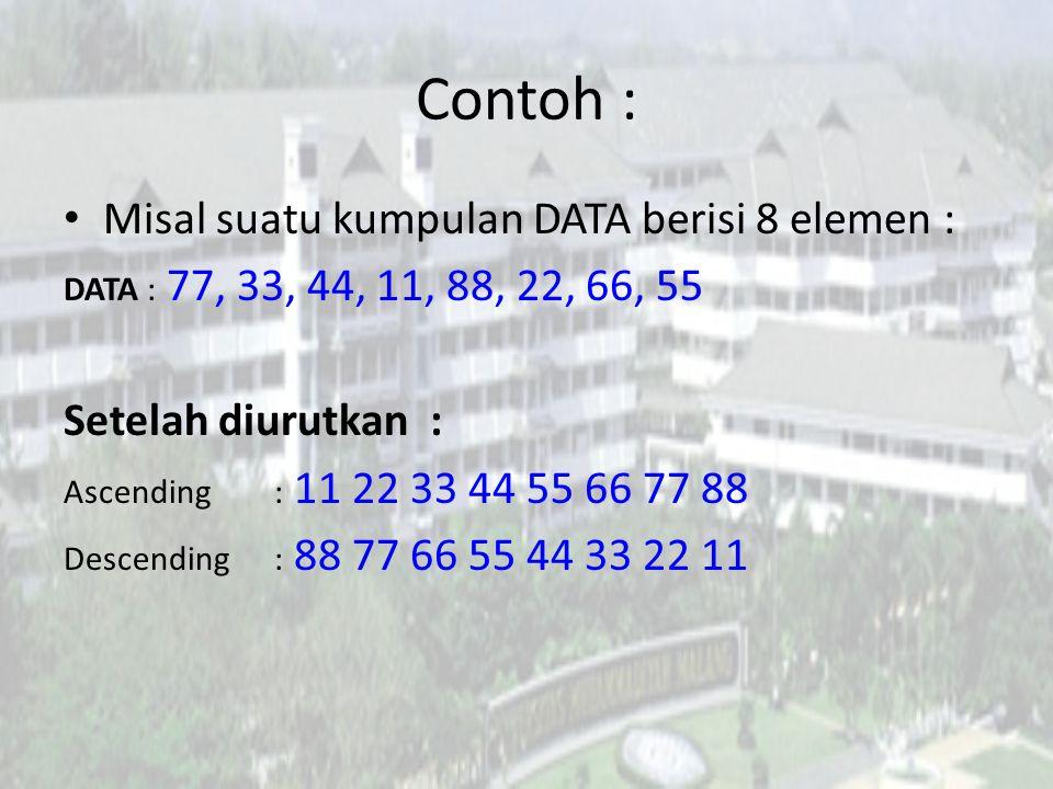 Contoh : Misal suatu kumpulan DATA berisi 8 elemen :