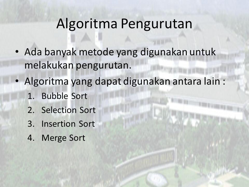 Algoritma Pengurutan Ada banyak metode yang digunakan untuk melakukan pengurutan. Algoritma yang dapat digunakan antara lain :