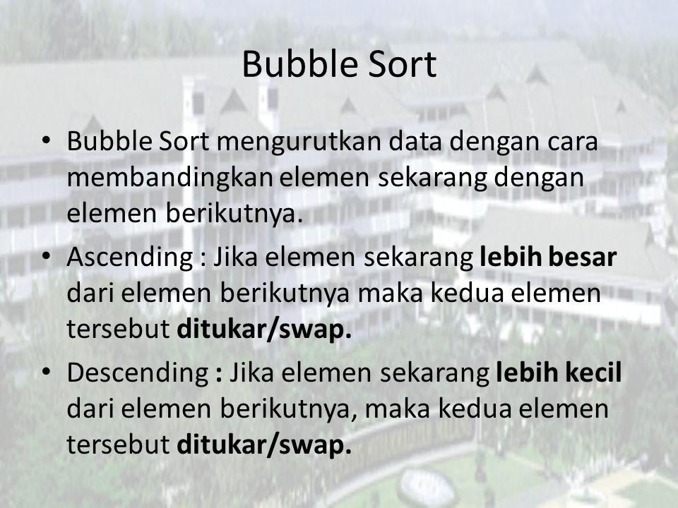 Bubble Sort Bubble Sort mengurutkan data dengan cara membandingkan elemen sekarang dengan elemen berikutnya.
