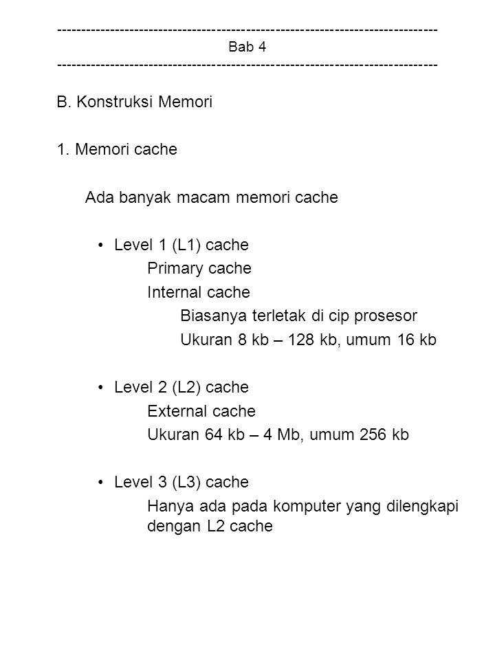 Ada banyak macam memori cache Level 1 (L1) cache Primary cache