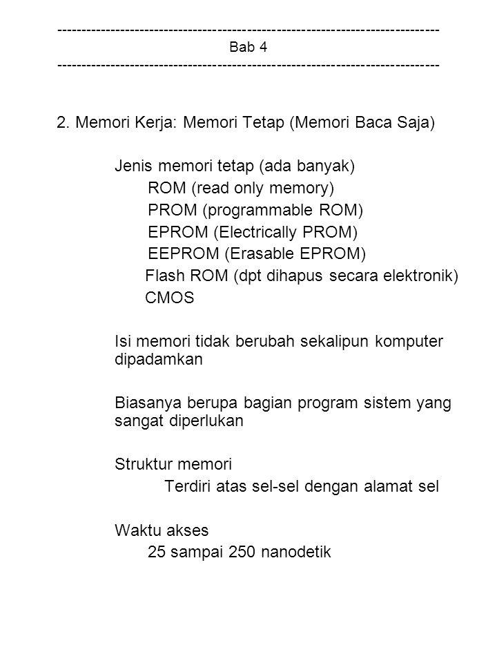 2. Memori Kerja: Memori Tetap (Memori Baca Saja)