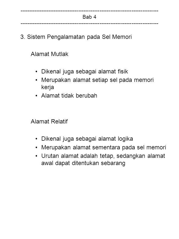 3. Sistem Pengalamatan pada Sel Memori Alamat Mutlak