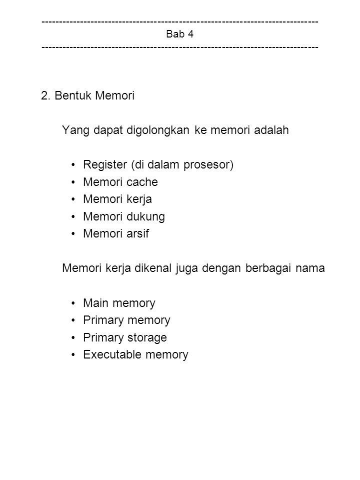Yang dapat digolongkan ke memori adalah Register (di dalam prosesor)