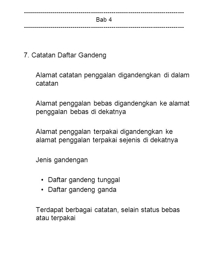 7. Catatan Daftar Gandeng