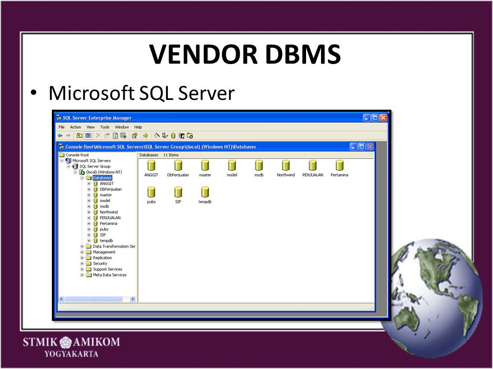 VENDOR DBMS Microsoft SQL Server