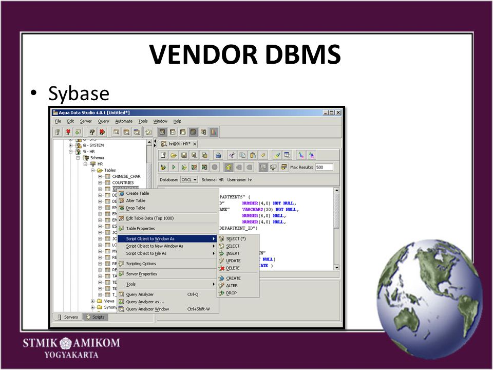 VENDOR DBMS Sybase