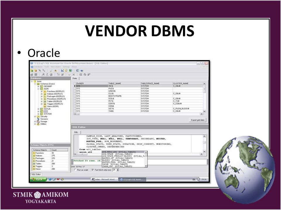 VENDOR DBMS Oracle