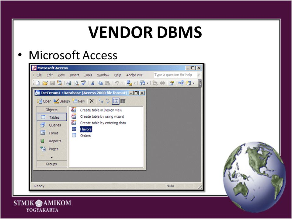 VENDOR DBMS Microsoft Access