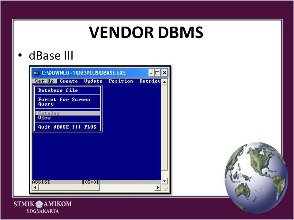 VENDOR DBMS dBase III