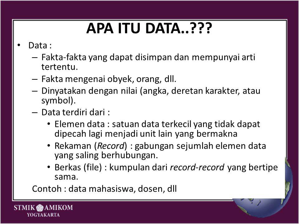APA ITU DATA.. Data : Fakta-fakta yang dapat disimpan dan mempunyai arti tertentu. Fakta mengenai obyek, orang, dll.