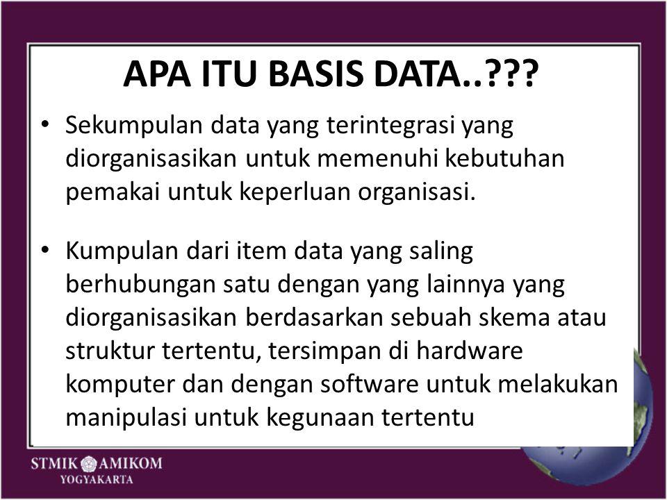 APA ITU BASIS DATA.. Sekumpulan data yang terintegrasi yang diorganisasikan untuk memenuhi kebutuhan pemakai untuk keperluan organisasi.