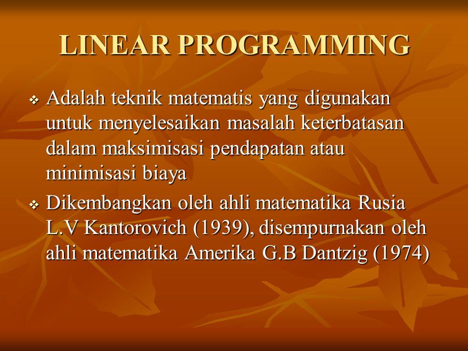 LINEAR PROGRAMMING Adalah teknik matematis yang digunakan untuk menyelesaikan masalah keterbatasan dalam maksimisasi pendapatan atau minimisasi biaya.