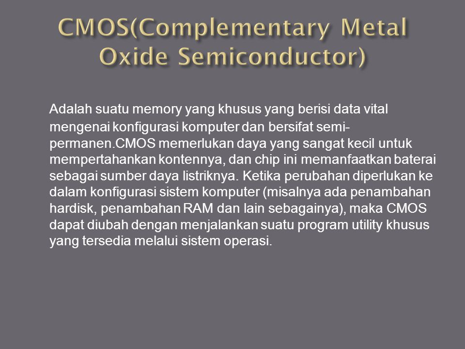 CMOS(Complementary Metal Oxide Semiconductor)