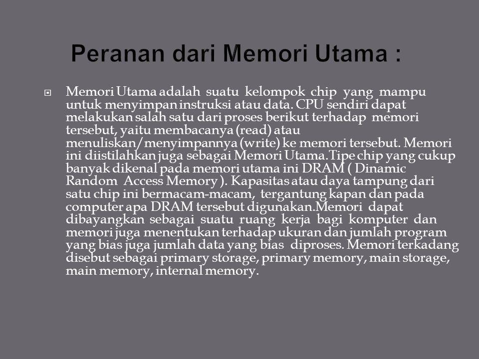 Peranan dari Memori Utama :