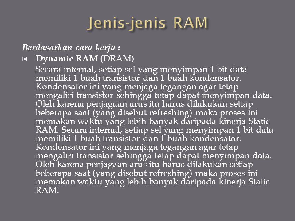 Jenis-jenis RAM Berdasarkan cara kerja : Dynamic RAM (DRAM)