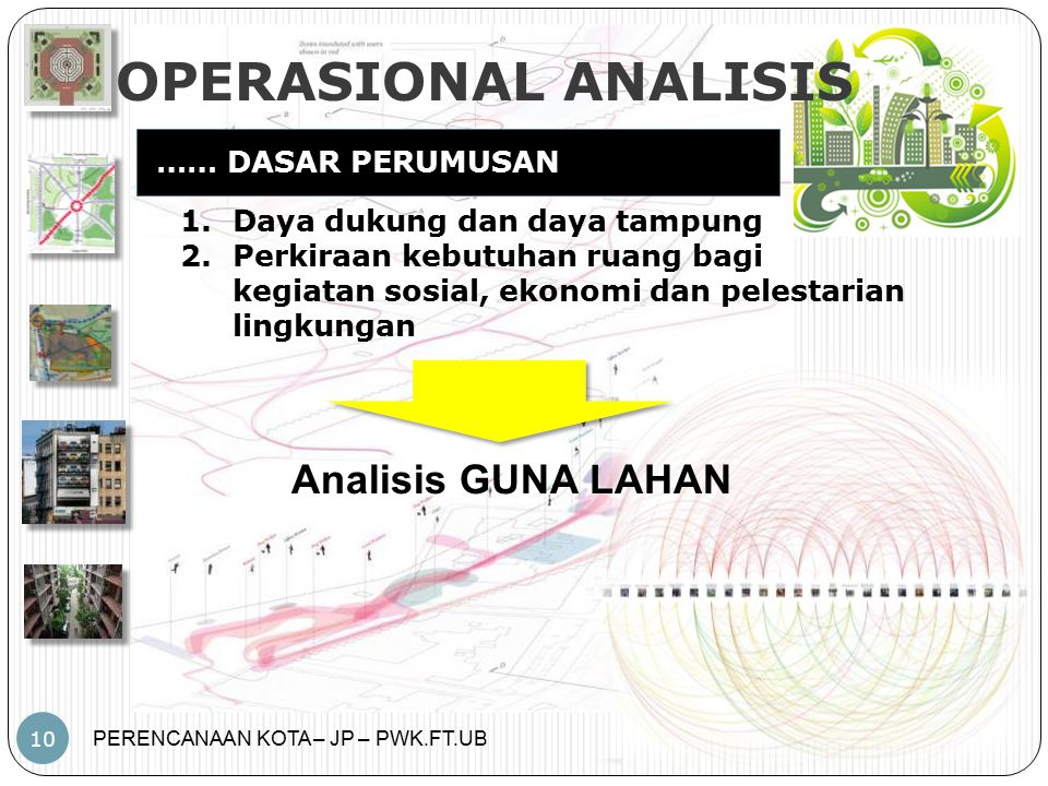 OPERASIONAL ANALISIS Analisis GUNA LAHAN …… DASAR PERUMUSAN