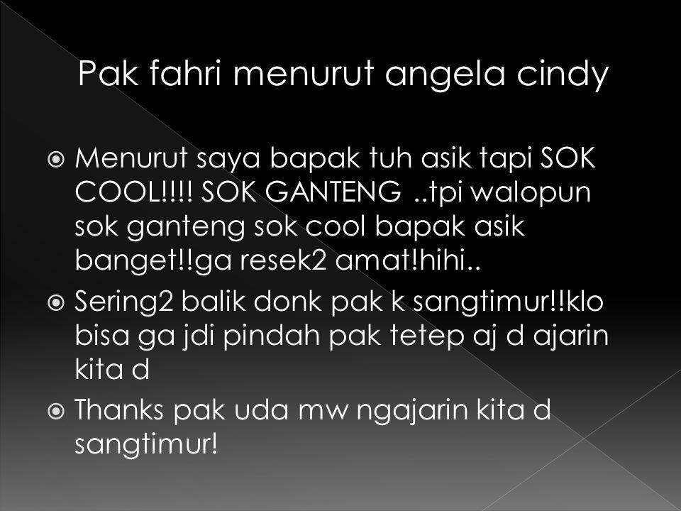 Pak fahri menurut angela cindy