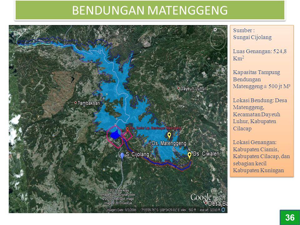 BENDUNGAN MATENGGENG 36 38 Sumber : Sungai Cijolang