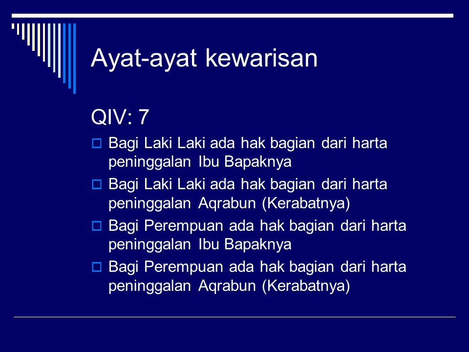Ayat-ayat kewarisan QIV: 7