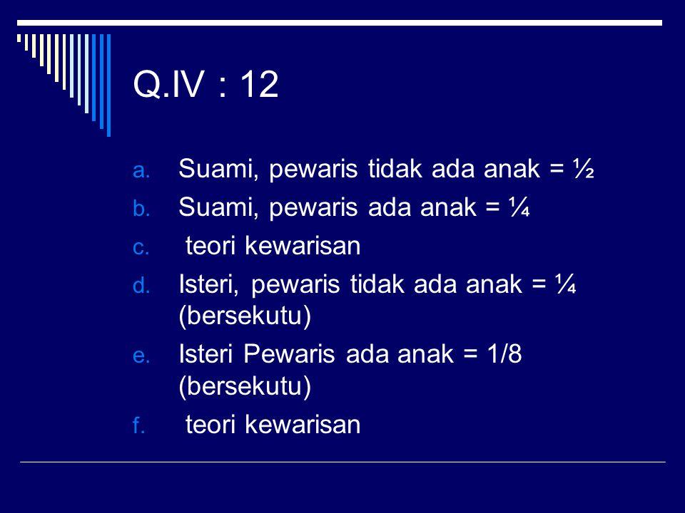 Q.IV : 12 Suami, pewaris tidak ada anak = ½