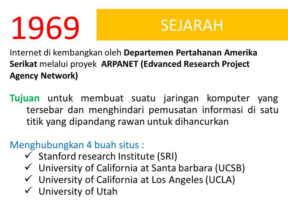 1969 SEJARAH. Internet di kembangkan oleh Departemen Pertahanan Amerika Serikat melalui proyek ARPANET (Edvanced Research Project Agency Network)
